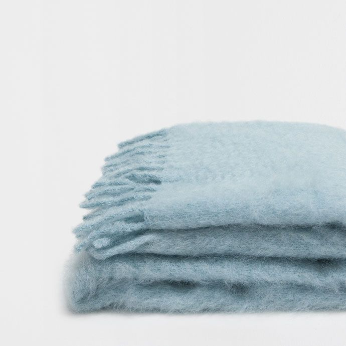 SEA GREEN MOHAIR THROW WITH FRINGE - Throws - Bedroom | Zara Home United States of America
