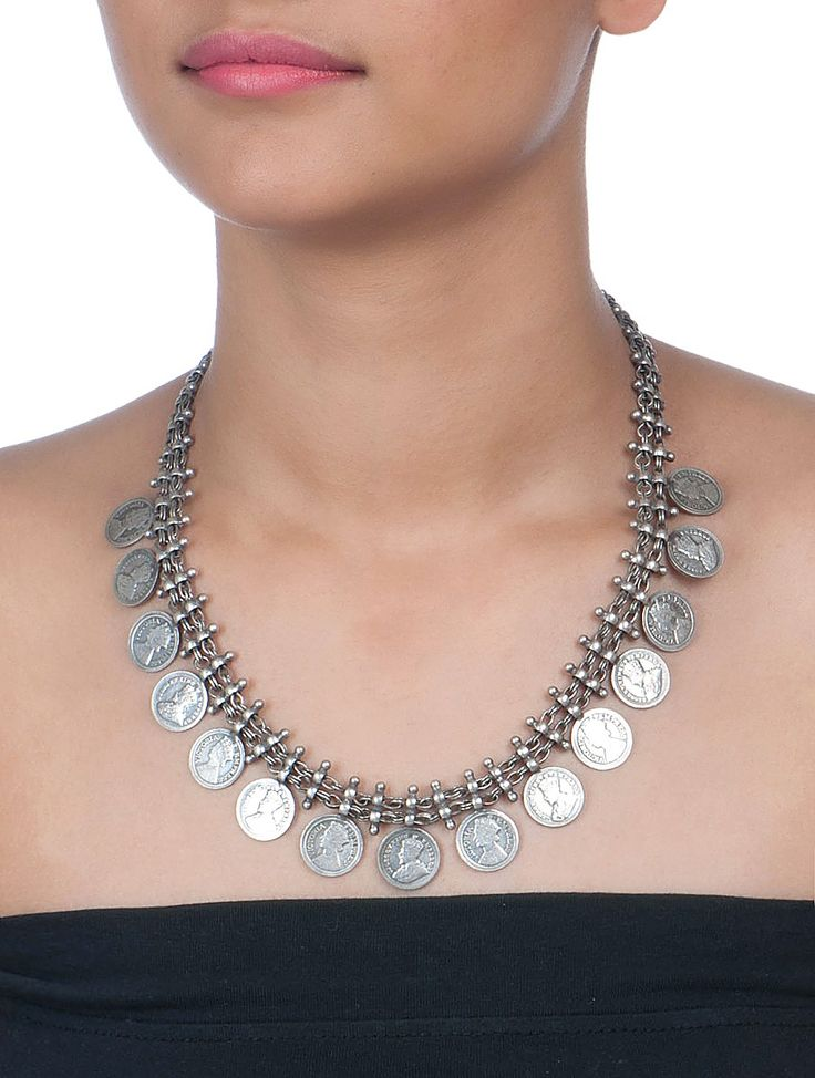 Buy Silver British Coin Necklace Jewelry Tribalistic Hand Crafted Etched Tribal from Rajasthan Online at Jaypore.com