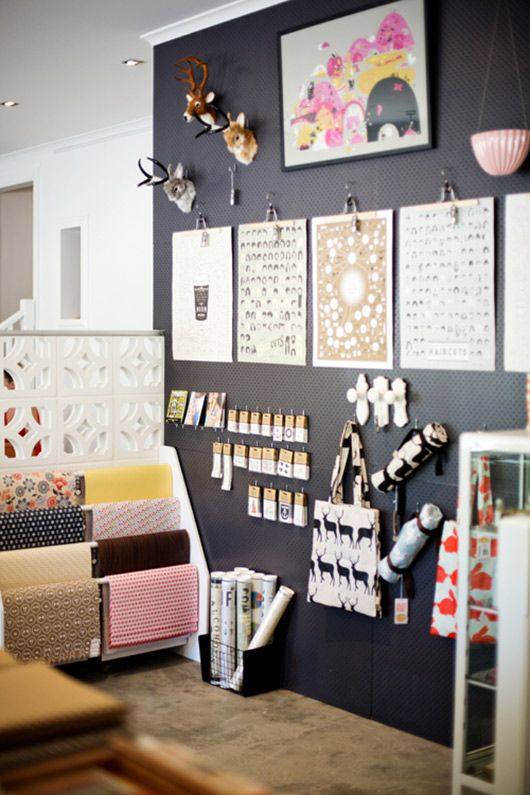 floor to ceiling painted pegboard wall || studio bomba | australia.