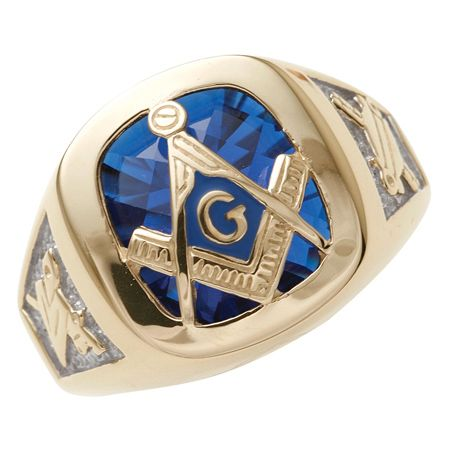 10kt Yellow Gold Masonic Ring With Blue Checkerboard Stone
