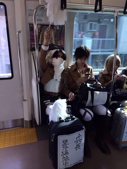 Reasons why I want to live in Japan. 1) LEVI CLEANING ON THE TRAIN. Like, no big deal....it's just LEVI. Hahahaha!!!