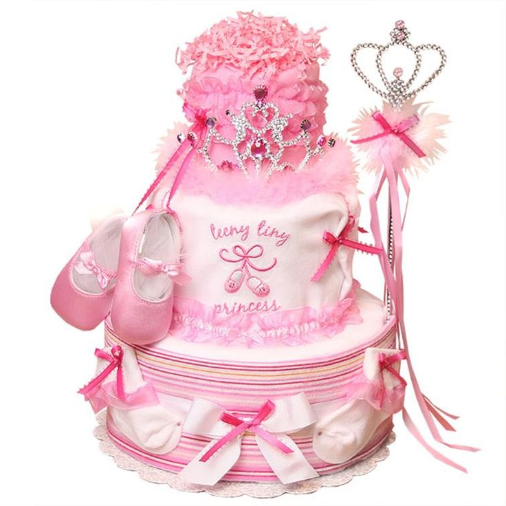 put tiara and shoes w rib ion tangling from tiara on baby shower cake