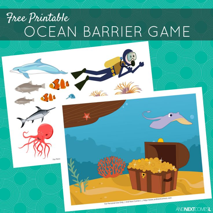 Free printable ocean themed barrier game for speech therapy - great for kids with autism and hyperlexia from And Next Comes L