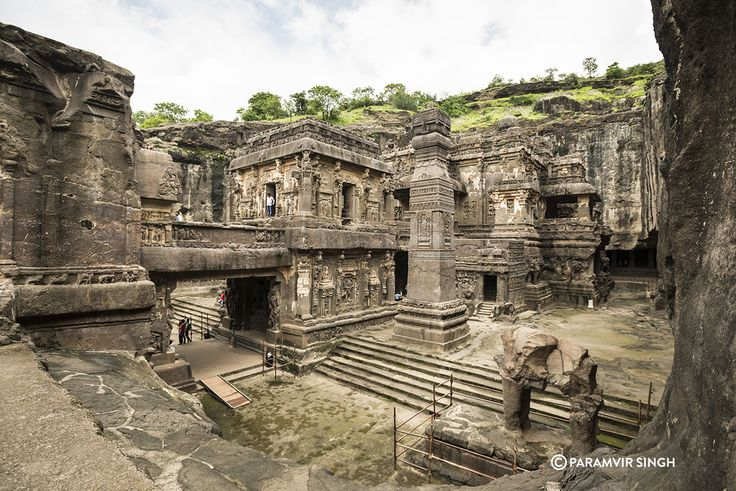 The Kailash Temple at Ellora is considered the world's largest monolithic rock cut sculpture. It is dedicated to the Hindu God Lord Shiva. Ellora Caves are a marvel in sculture and architecture. This collection of Buddhist, Jain and Hindu caves date back to the 1st Century AD and are a UNESCO World Heritage Site