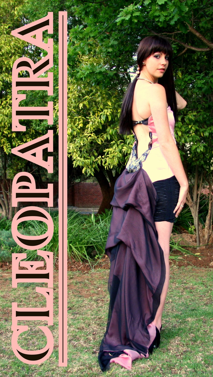 Cleopatra Inspired Design by Rolindie van Druten - N Designs. Pink and Black Satin and Chiffon Dress with beading and metal studs
