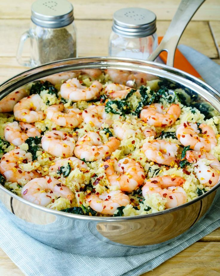 Quick lunch or dinner idea....packed with nutrients, and as simple as it gets to prepare Ingredients: Makes about 3 servings 1 lb. shrimp 1 Tbsp avocado oil, or olive oil + an extra tsp 1 head cauliflower, grated 4 cloves fresh garlic, minced sea salt and pepper to taste 1 tsp chilli flakes 3...