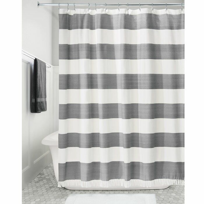 Rideout Wide Stripe Single Shower Curtain With Images Fabric