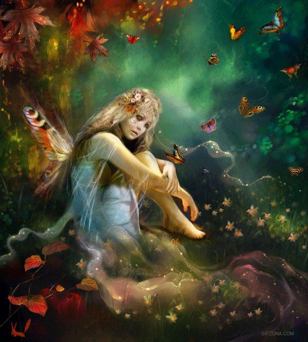 Hada con mariposas en el bosque