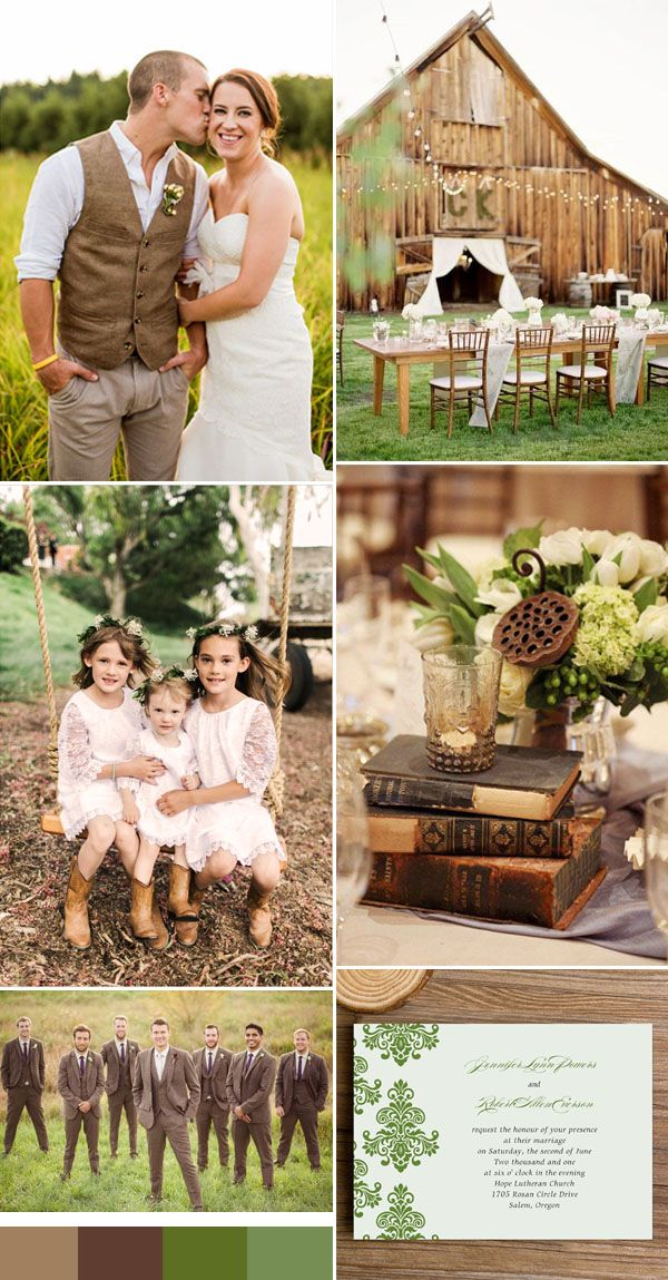 brown and green weddings for 2016 spring weddings