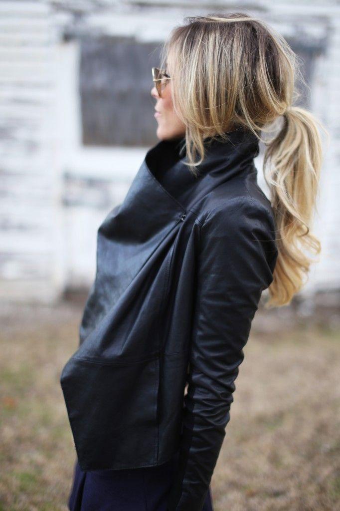 Happily Grey - wrap leather jacket