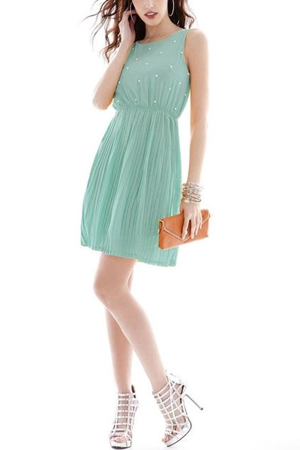 Beads Embellished Bound Waist Pleated Dress