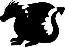 A dragon silhouette might be an option with more dignity.  We need to avoid all the scary and the googley-eyed options out there.