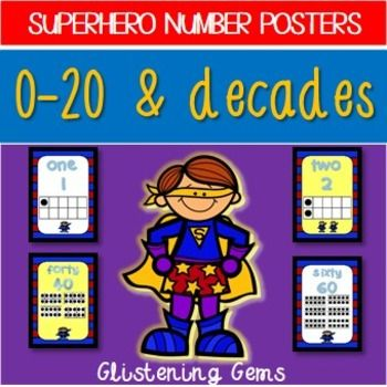 Superhero Number Posters 0-20 and decades - Classroom Decor - Back to School. 50% off for first 24 hours! Don't miss out on this bargain price. Would normally cost $3.50 to purchase. On sale now for $1.75. Number Posters - These posters are perfect for adding a splash of color to your classroom!