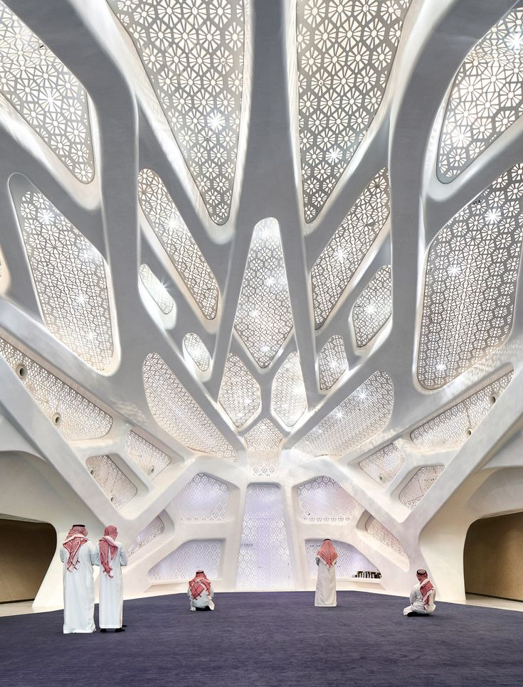 Hexagonal-planned pods interlock like honeycomb to form the Zaha Hadid Architects-designed King Abdullah Petroleum Studies and Research Centre in Riyadh.