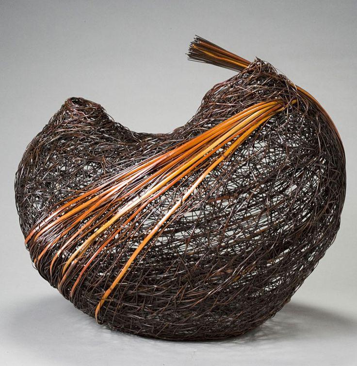 Basketry, Monden Kogyoku, Artist, Bird, dated 1975, Bamboo (madake). selected techniques: irregular plaiting  H. 19 in x W. 19 1/2 in x D. 18 in.  ; photograph by Kaz Tsuruta.