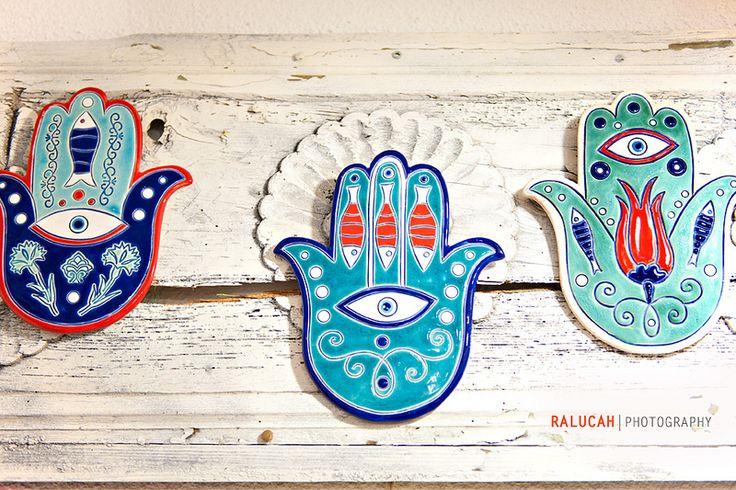 blue ceramic hamsa