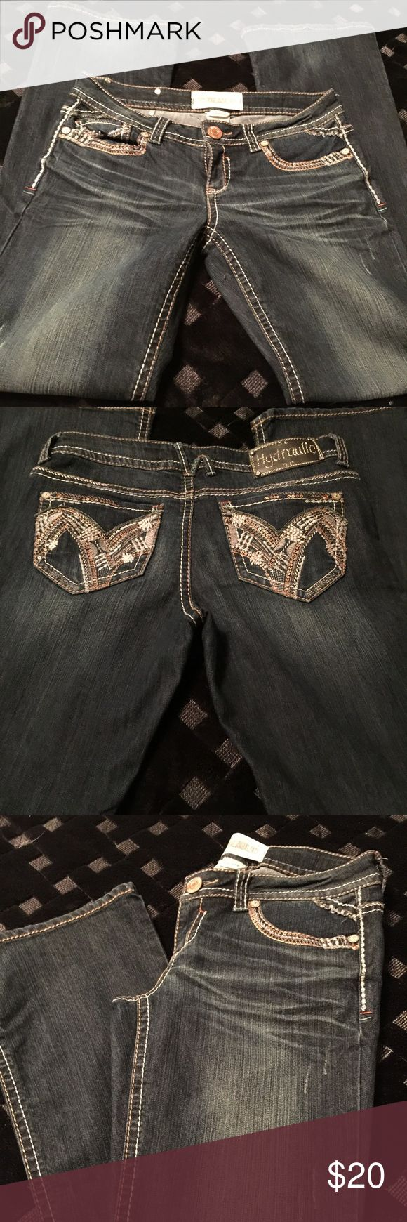 Hydraulic jeans Slightly used dark wash hydraulic jeans.. slight wear on the bottoms.. size 8 Hydraulic Jeans Boot Cut