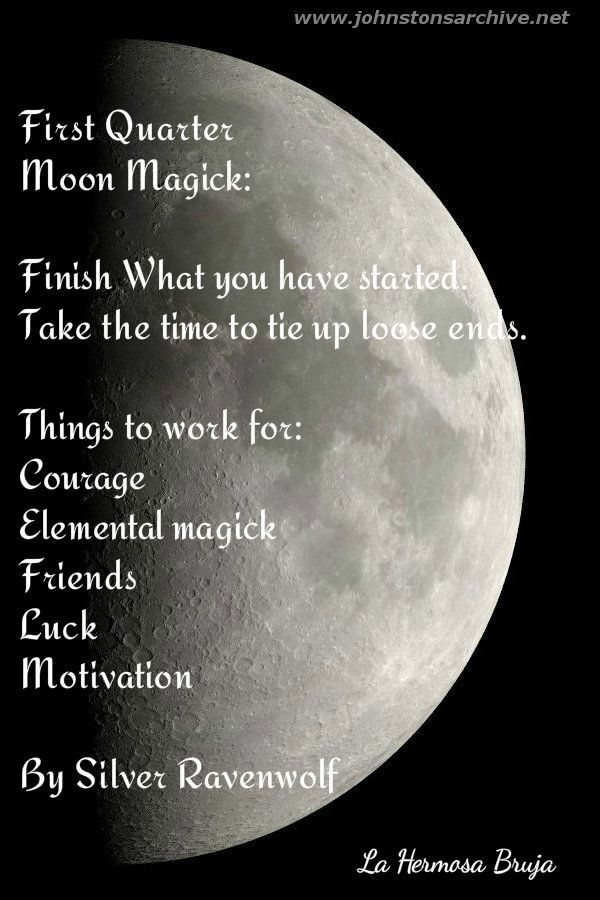First Quarter Moon Magick By La Hermosa Bruja - Pinned by The Mystic's Emporium on Etsy