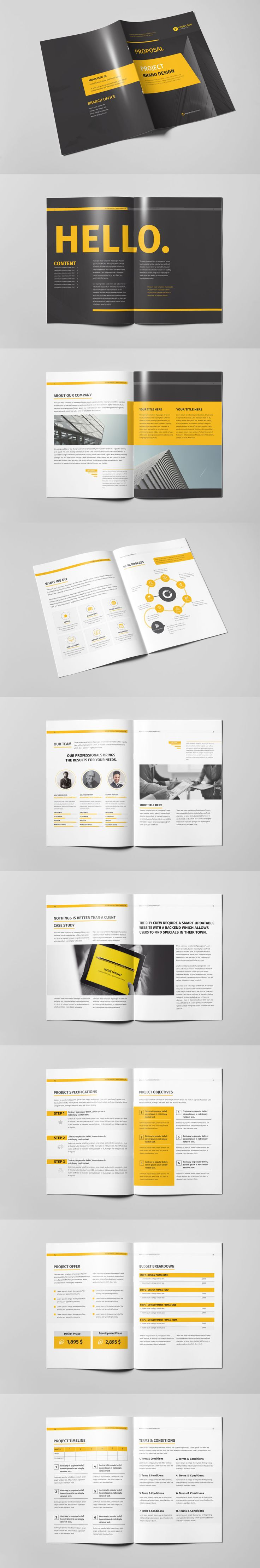 Professional, Clean and Modern 18 Pages Corporate Business Brochure Template InDesign INDD