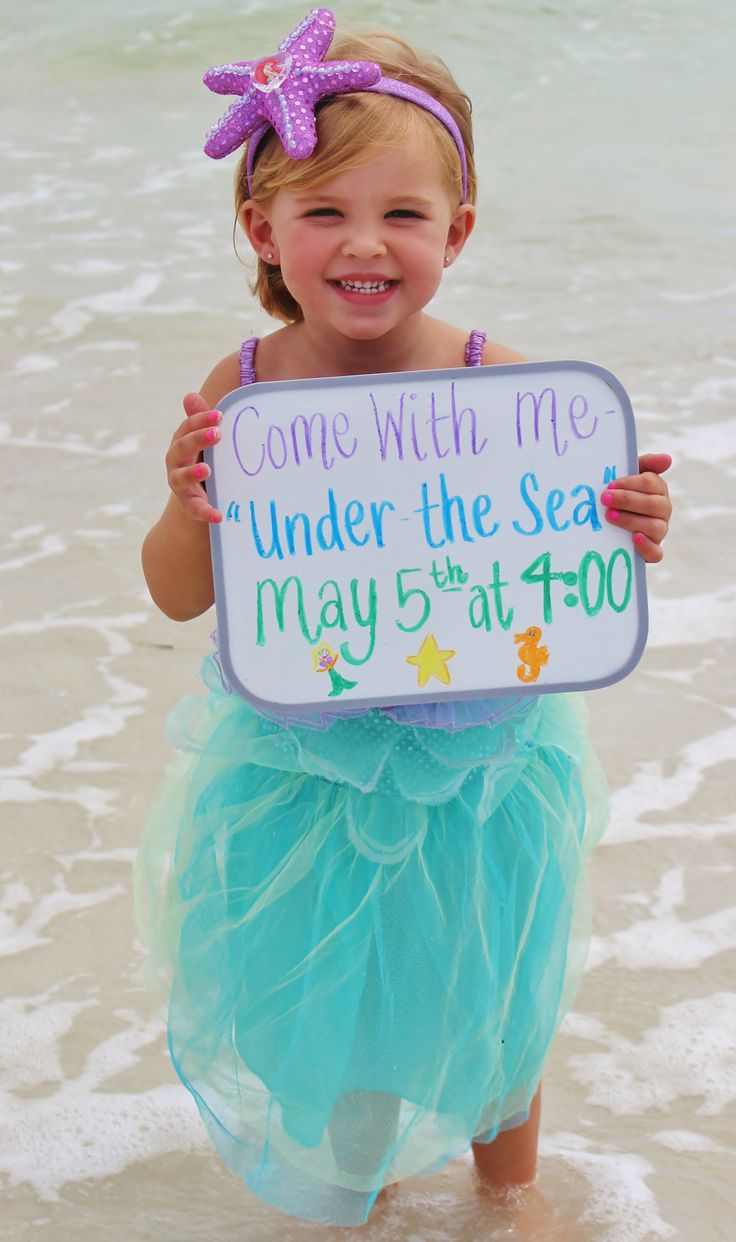 Great kids birthday invite idea. In this day of posts and pictures, this is darling....gotta find a cute mermaid outfit ASAP!...and a chalk board would be cuter, I think.