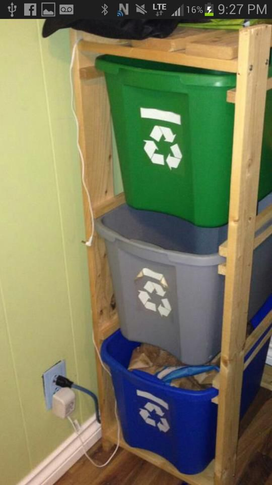 recycle bins - good idea to keep things neat and off the floor---for the garage