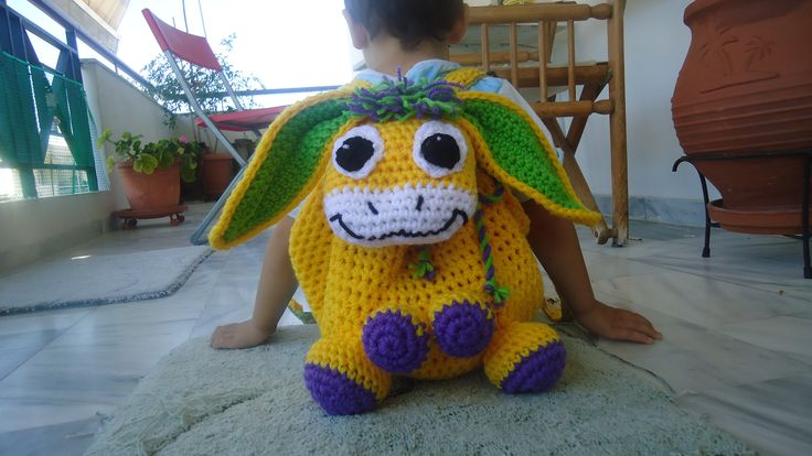 donkey toddler women handmade crochet backbag colourful textile lining adjustable straps bag made to order facebook/toucanbeanies