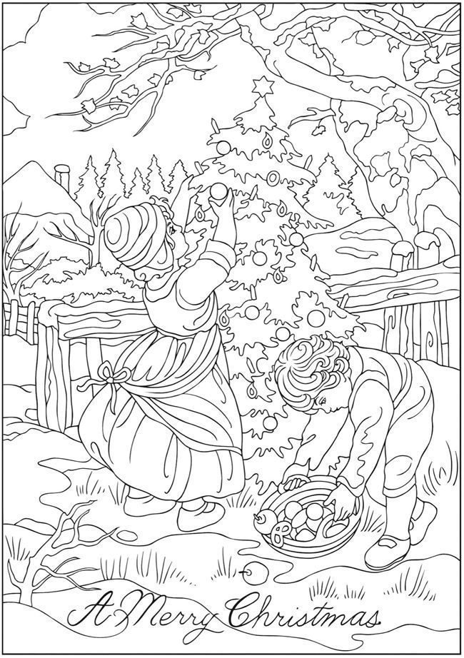 Decorating Christmas Tree Coloring Page For Adults Christmas Coloring Pages Christmas Coloring Books Coloring Books