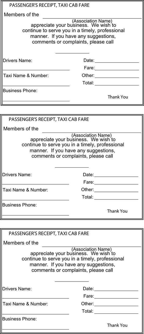 Yellow Cab Receipt Template Taxi Receipt Templates Free