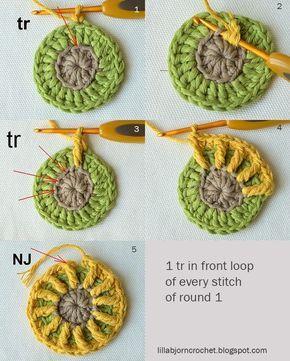 Block 6 from Circles of the Sun Mystery CAL (overlay crochet). Designed by LillaBjornCrochet
