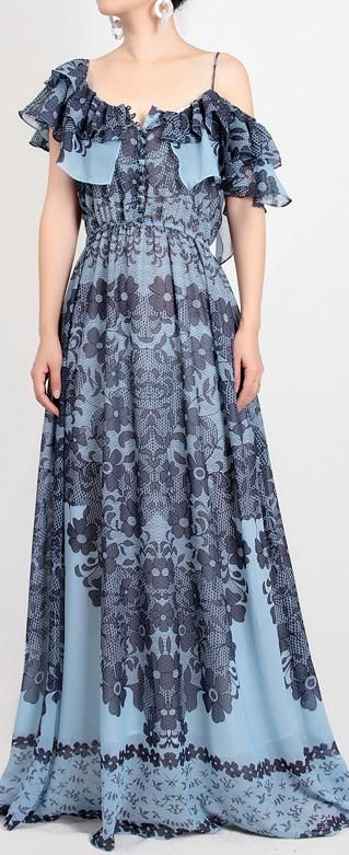 412c53ece7d2 Floral and Lace Printed Chiffon Maxi Dress in 2019 | jalpa | Dresses ...