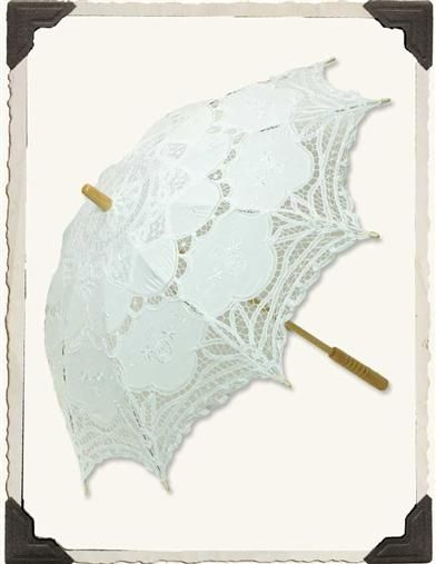 """BATTENBURG LACE PARASOL (WHITE)  Cotton lace, bamboo handle. Opens to 29"""", 26"""" from handle to tip of finial."""