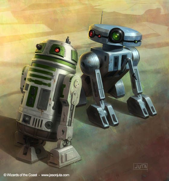 Two generations of droids, an astromech model from the Galactic Civil war era (left) and the one from the Jedi Civil War period (right).