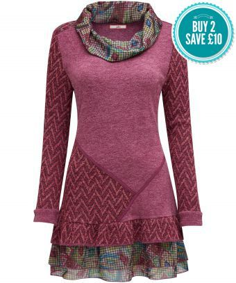Chill Out Tunic. With a cowl neck and frilled layered hem.