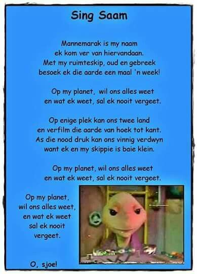 Sing saam | Mannemarak is my naam, ek kom van ver hiervandaan | Afrikaanse rympies en liedjies