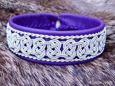 Swedish Viking Lapland Bracelet BEOWULF Sami Bracelet in Purple Reindeer Leather with Spun Pewter Braids - Handcrafted Nordic Elegance from Tjekijas Design.