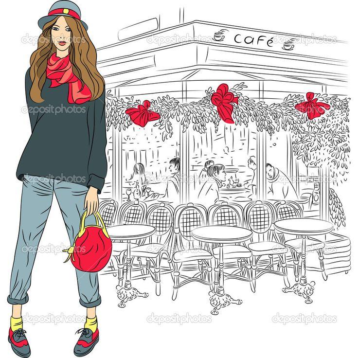Вектор милые мода девушка на фоне Парижа — стоковая иллюстрация #23710433