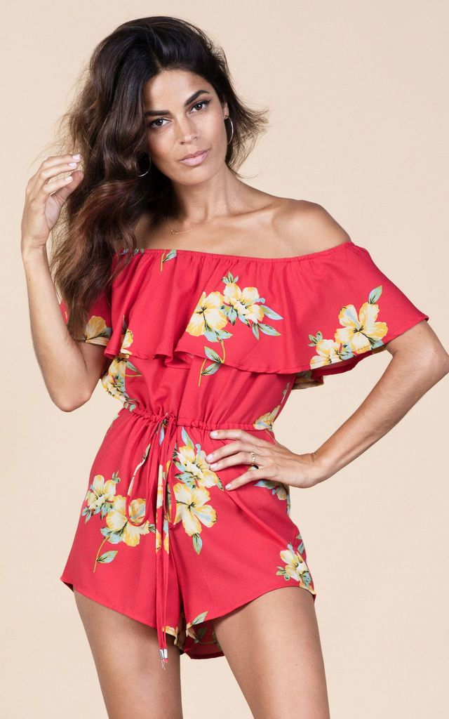 Click to view Zola Playsuit in Hibiscus