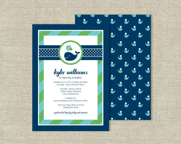 Navy Blue Whale Baby Shower Invitations - Nautical Ocean Theme. $25.00, via Etsy.