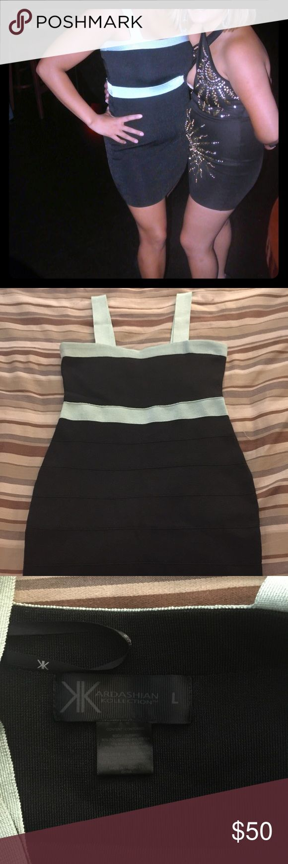 Bandage black dress I love this dress! From the Kim kardshian collection, I don't go out much anymore, but this dress will rock ur world and anyone who sees it! Great fit form and awesome turquoise detail! Kim kardashian Dresses Mini