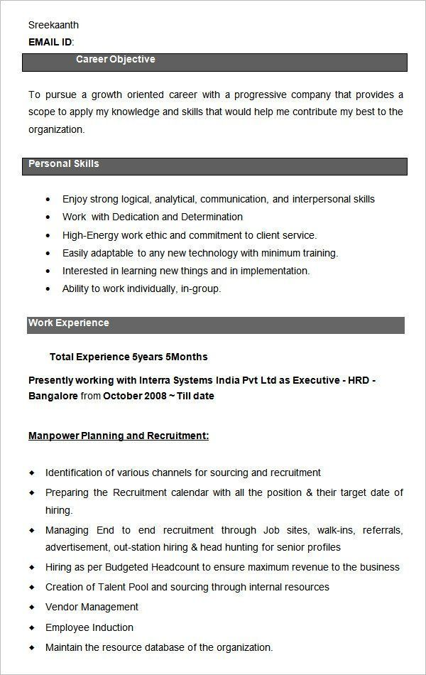 Human Resources Resume Downloadable Resume Template Resume Templates Resu In 2020 Human Resources Resume Downloadable Resume Template Business Resume Template