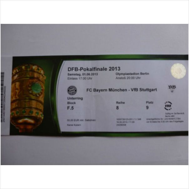 RARE TICKET STUB - DFB Cup Final 2013 FC Bayern Munich v VfB Stuttgart