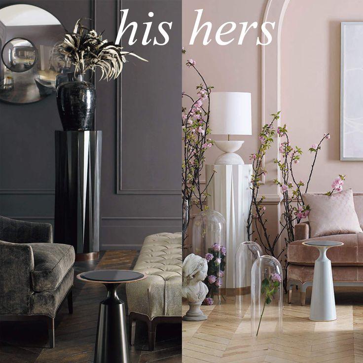 Heliodor Pedestal in Ebony Gloss x Dove Gloss Virdine Round in Ebony Gloss x Dove Gloss by Baker | Jean Louis Deniot