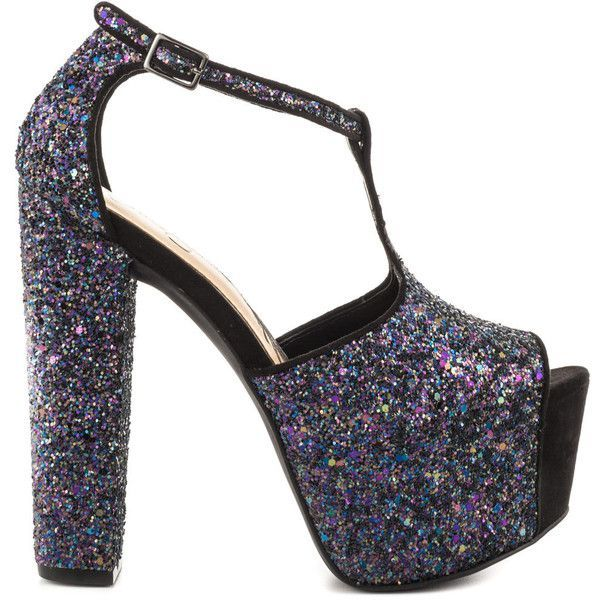 40ed2dab896 Jessica Simpson Women s Danyy - Galaxy Blk Chunky Glitter ( 110) ❤ liked on  Polyvore featuring shoes