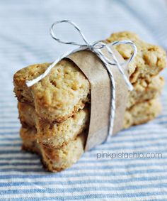 Dog Treats: 1 cup flour, 1/4 cup oats, 1/4 cup unsweetened shredded coconut, 1/2 tablespoon baking powder, 1/2 cup creamy peanut butter, 1/2 cup milk, 1 tablespoon olive oil, 1 tablespoon applesauce. 350 oven . combine all and roll out to 1/2 inch thickness. cut out and bake for 20 minutes.