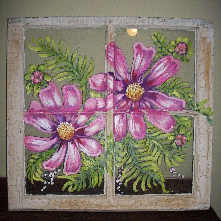 Old window, painted by Dawn Tarr