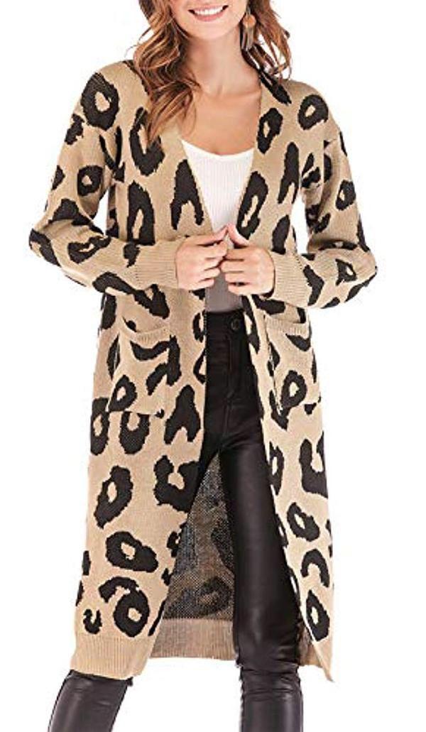 95a3290e640 BTFBM Women Long Sleeve Open Front Leopard Knit Long Cardigan Casual Print  Knitted Maxi Sweater Coat
