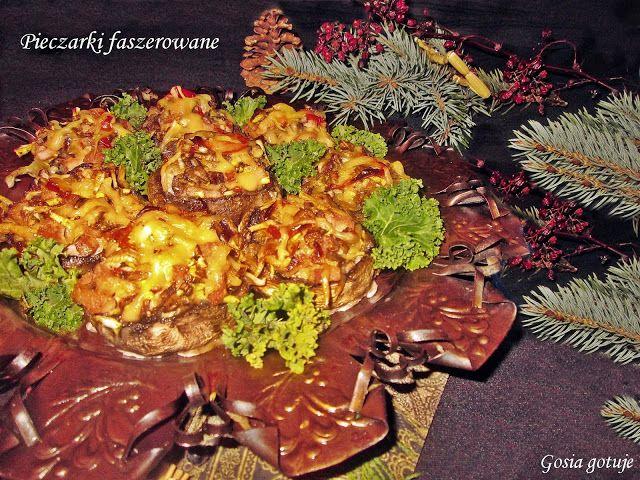 Gosia gotuje: Pieczarki faszerowane szynką i żółtym serem