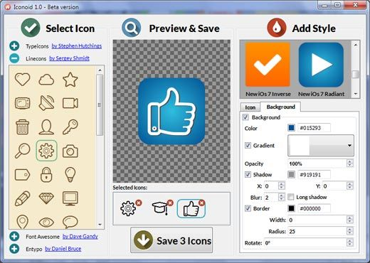 Iconion allows you to convert any icon font into fantastic-looking png icons by adding color, shadow, background, gradient, stroke and many other fancy elements.