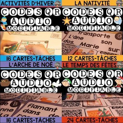 GRATUIT-Cartes-Tâches CODES QR AUDIO- LA NATIVITÉ. French Task Cards with AUDIO QR codes. #EdTech #FSL #QRcodes