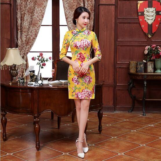 5b834b189369 Yellow Printing Slim Improved Cheongsam Dress Women Grace Clothes Short  Qipao Casual Dresses High Quality Mujeres